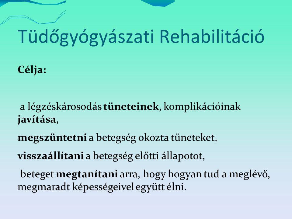 Tüdőgyógyászati Rehabilitáció Célja: a légzéskárosodás tüneteinek, komplikációinak javítása, megszüntetni a betegség okozta tüneteket, visszaállítani a betegség előtti állapotot, beteget megtanítani arra, hogy hogyan tud a meglévő, megmaradt képességeivel együtt élni.