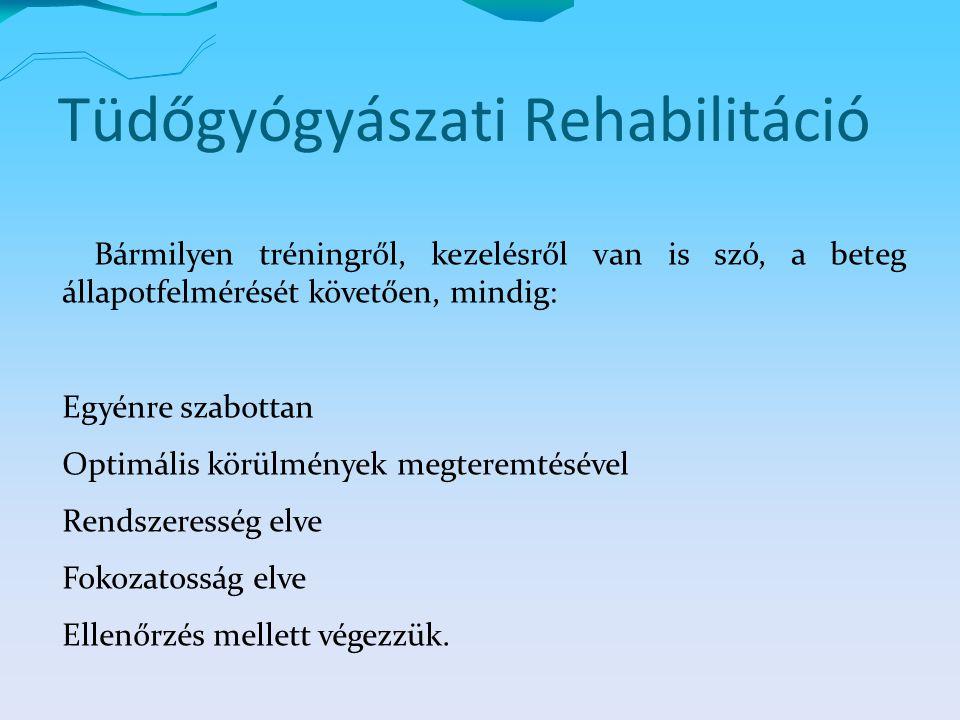 Tüdőgyógyászati Rehabilitáció Bármilyen tréningről, kezelésről van is szó, a beteg állapotfelmérését követően, mindig: Egyénre szabottan Optimális körülmények megteremtésével Rendszeresség elve Fokozatosság elve Ellenőrzés mellett végezzük.