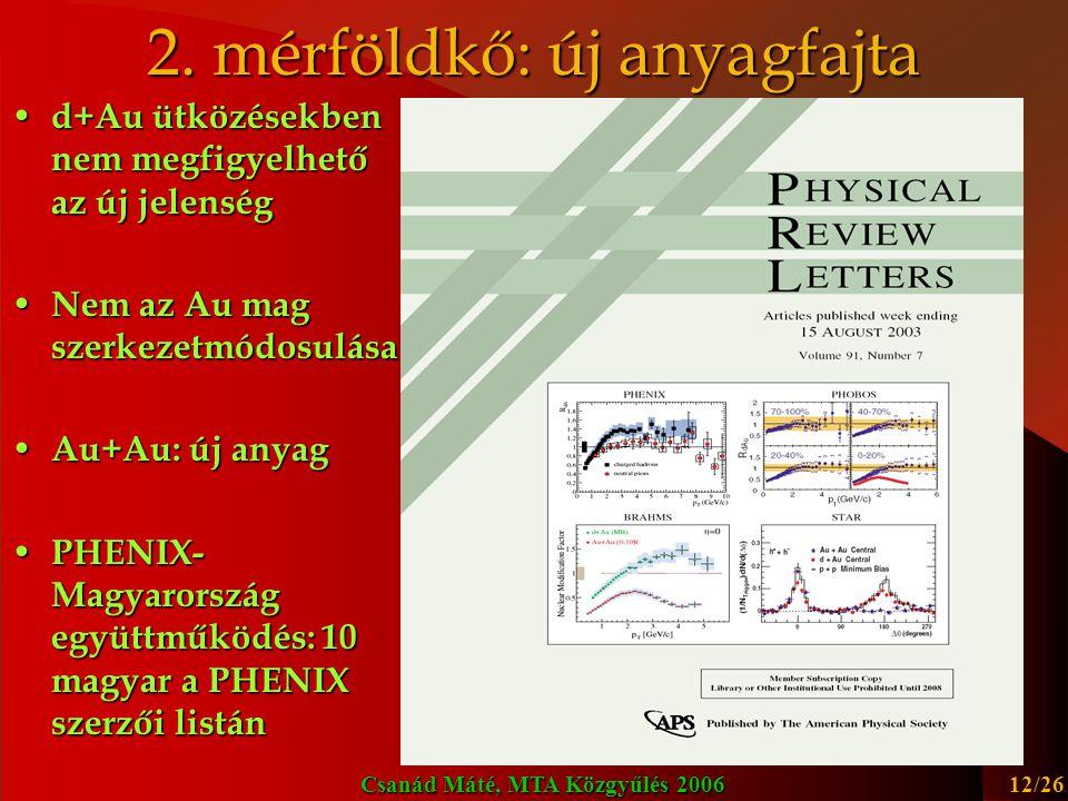 Csanád Máté, MTA Közgyűlés 2006 13/26 Top Story 2005 PHENIX: 3x AIP Top Physics Story RHIC első éveit összegző cikkek: Top Physics Story #1 2005 http://arxiv.org/abs/nucl-ex/0410003, 153 hivatkozás (2006.