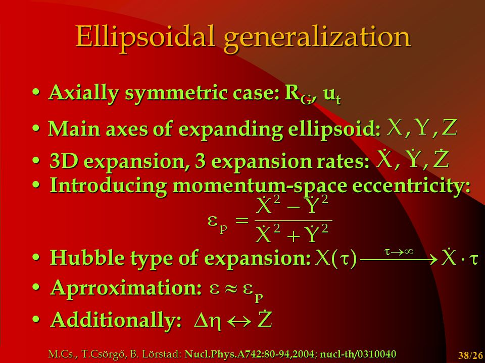 Csanád Máté, MTA Közgyűlés 2006 38/26 Ellipsoidal generalization Axially symmetric case: R G, u t Axially symmetric case: R G, u t Main axes of expanding ellipsoid: Main axes of expanding ellipsoid: 3D expansion, 3 expansion rates: 3D expansion, 3 expansion rates: Introducing momentum-space eccentricity: Introducing momentum-space eccentricity: Hubble type of expansion: Hubble type of expansion: Additionally: Additionally: Aprroximation: Aprroximation: M.Cs., T.Csörgő, B.