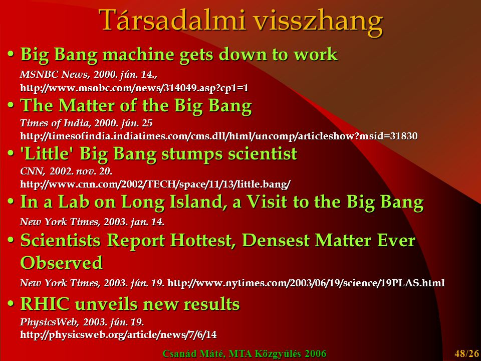 Csanád Máté, MTA Közgyűlés 2006 48/26 Társadalmi visszhang Big Bang machine gets down to work Big Bang machine gets down to work MSNBC News, 2000.