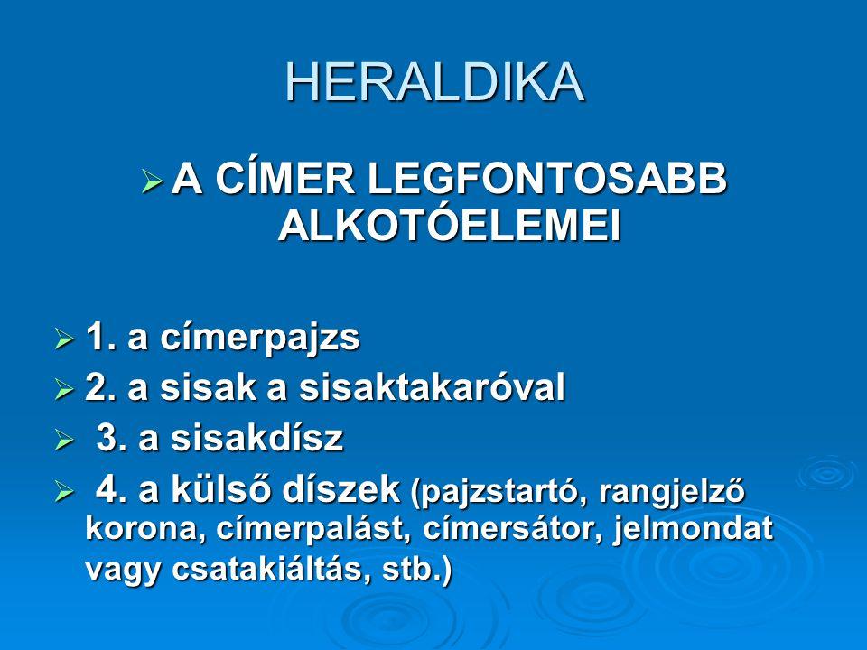 HERALDIKA  A CÍMER LEGFONTOSABB ALKOTÓELEMEI  1.