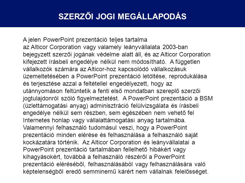 A jelen PowerPoint prezentáció teljes tartalma az Alticor Corporation vagy valamely leányvállalata 2003-ban bejegyzett szerzői jogának védelme alatt á