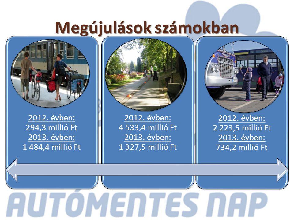 Megújulások számokban 2012. évben: 294,3 millió Ft 2013.