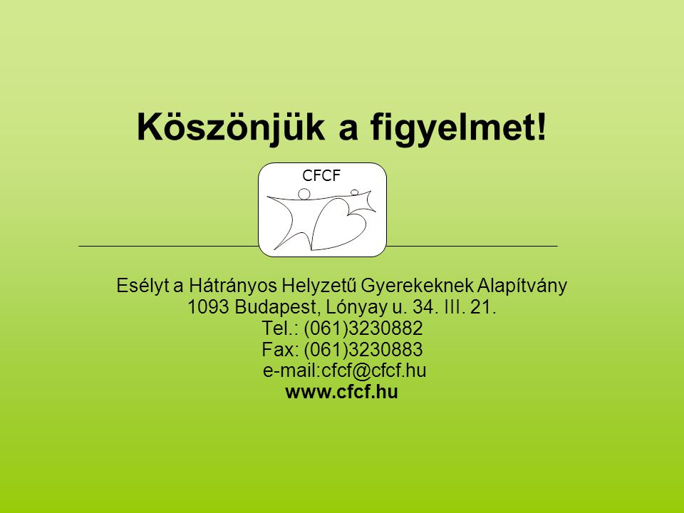 Köszönjük a figyelmet.Esélyt a Hátrányos Helyzetű Gyerekeknek Alapítvány 1093 Budapest, Lónyay u.