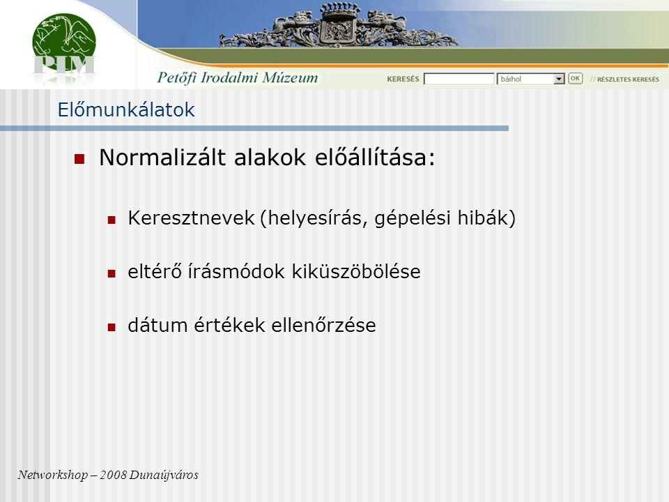 Normalizált alakok előállítása: Keresztnevek (helyesírás, gépelési hibák) eltérő írásmódok kiküszöbölése dátum értékek ellenőrzése Networkshop – 2008 Dunaújváros Előmunkálatok