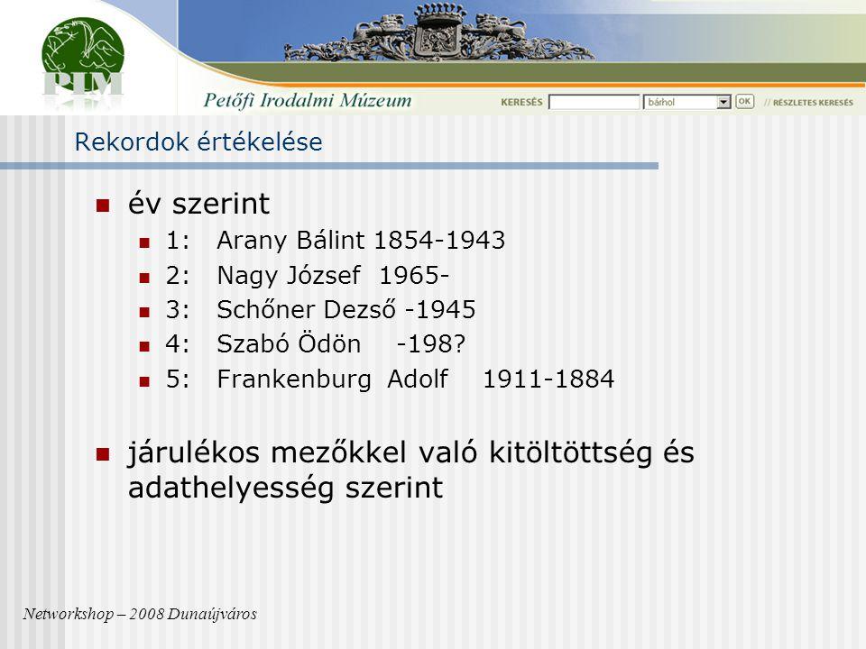 Rekordok értékelése év szerint 1: Arany Bálint 1854-1943 2: Nagy József 1965- 3: Schőner Dezső -1945 4: Szabó Ödön -198.
