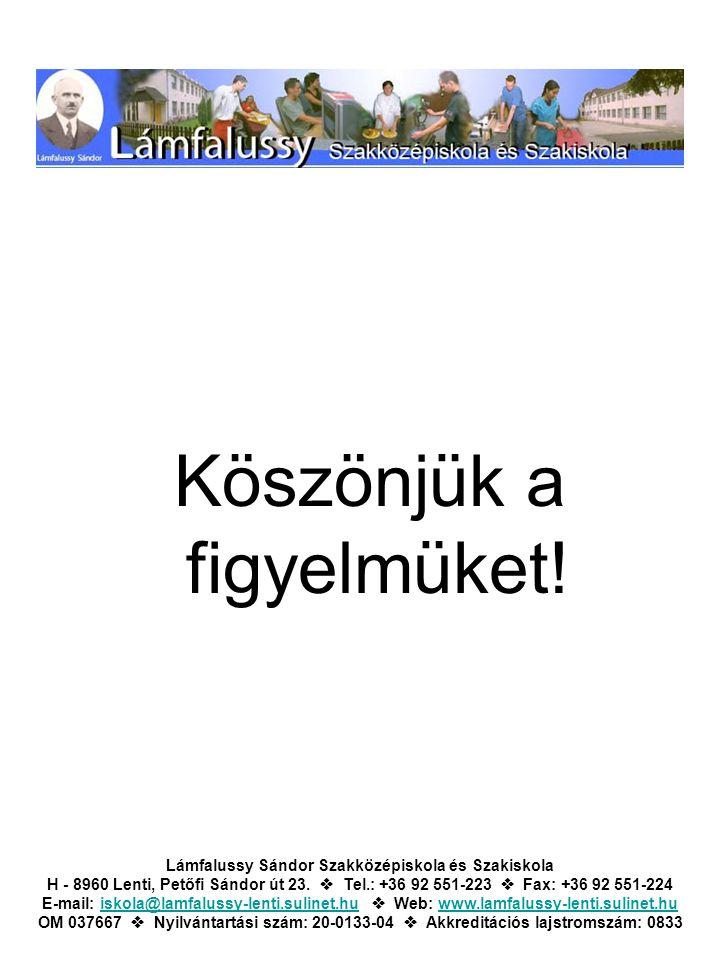 Köszönjük a figyelmüket! Lámfalussy Sándor Szakközépiskola és Szakiskola H - 8960 Lenti, Petőfi Sándor út 23.  Tel.: +36 92 551-223  Fax: +36 92 551