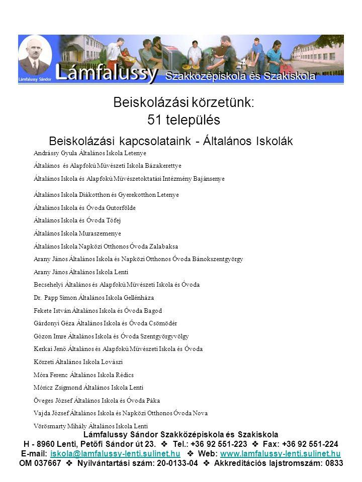 Beiskolázási körzetünk: 51 település Beiskolázási kapcsolataink - Általános Iskolák Andrássy Gyula Általános Iskola Letenye Általános és Alapfokú Művé