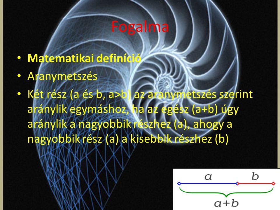 Fogalma Matematikai definíció Aranymetszés Két rész (a és b, a>b) az aranymetszés szerint aránylik egymáshoz, ha az egész (a+b) úgy aránylik a nagyobbik részhez (a), ahogy a nagyobbik rész (a) a kisebbik részhez (b)