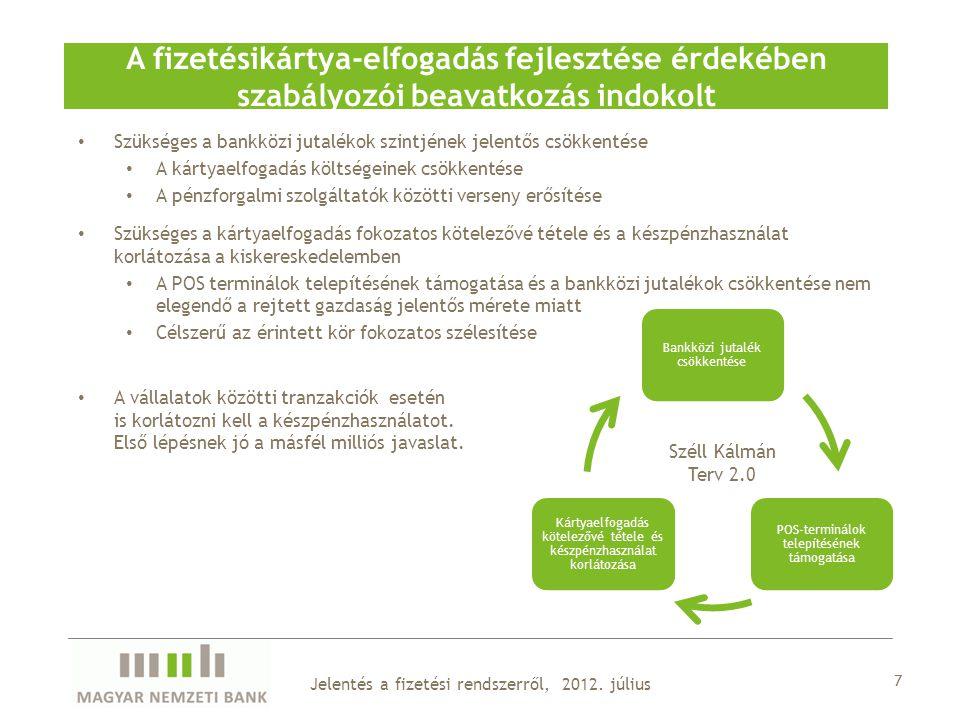 Szükséges a bankközi jutalékok szintjének jelentős csökkentése A kártyaelfogadás költségeinek csökkentése A pénzforgalmi szolgáltatók közötti verseny erősítése Szükséges a kártyaelfogadás fokozatos kötelezővé tétele és a készpénzhasználat korlátozása a kiskereskedelemben A POS terminálok telepítésének támogatása és a bankközi jutalékok csökkentése nem elegendő a rejtett gazdaság jelentős mérete miatt Célszerű az érintett kör fokozatos szélesítése A vállalatok közötti tranzakciók esetén is korlátozni kell a készpénzhasználatot.