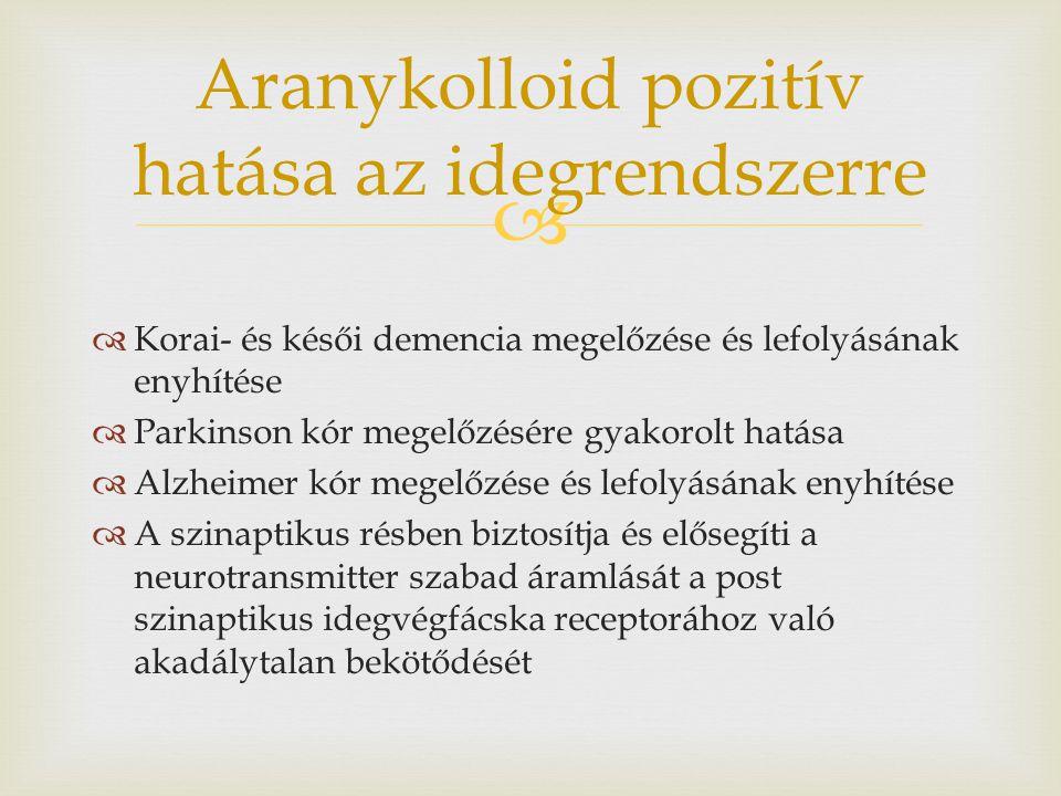   Korai- és késői demencia megelőzése és lefolyásának enyhítése  Parkinson kór megelőzésére gyakorolt hatása  Alzheimer kór megelőzése és lefolyás