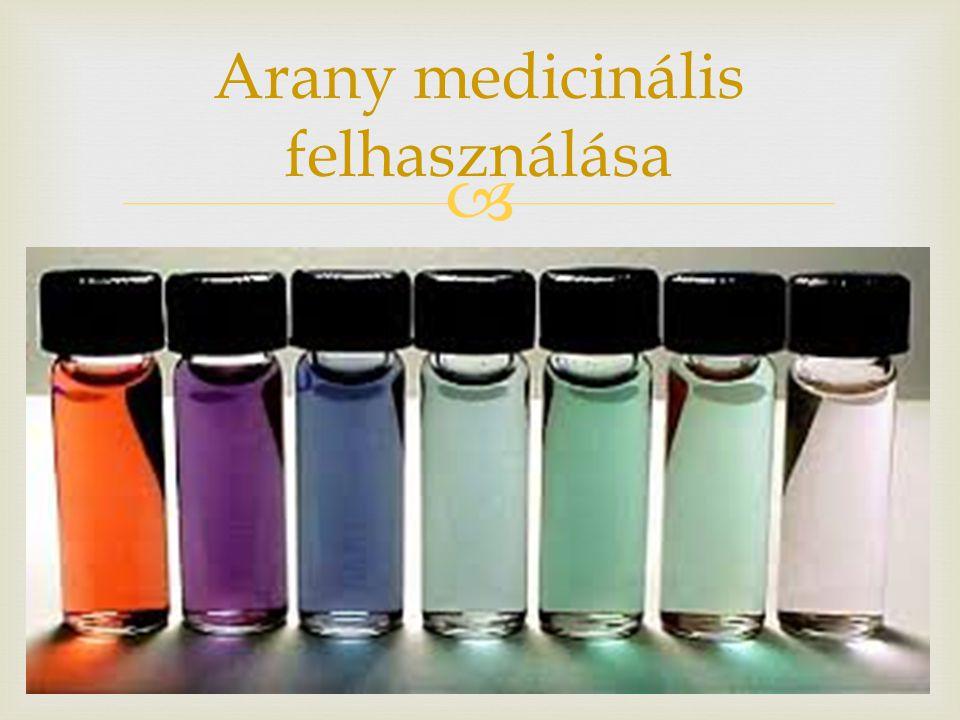   Tumorkutatás (antennás módszer)  Diagnosztika (influenza, sejtdiagnosztika)  Öregedéskutatás Arany nano részecskék medicinális használata