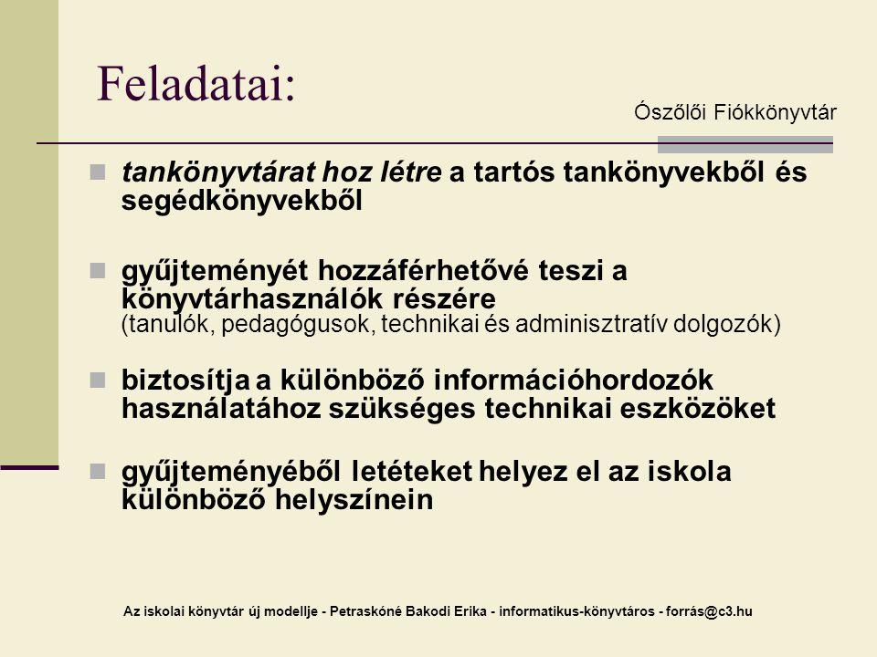Az iskolai könyvtár új modellje - Petraskóné Bakodi Erika - informatikus-könyvtáros - forrás@c3.hu Feladatai: tankönyvtárat hoz létre a tartós tanköny