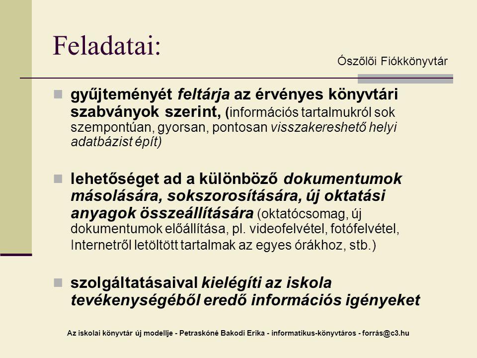Az iskolai könyvtár új modellje - Petraskóné Bakodi Erika - informatikus-könyvtáros - forrás@c3.hu Feladatai: gyűjteményét feltárja az érvényes könyvt