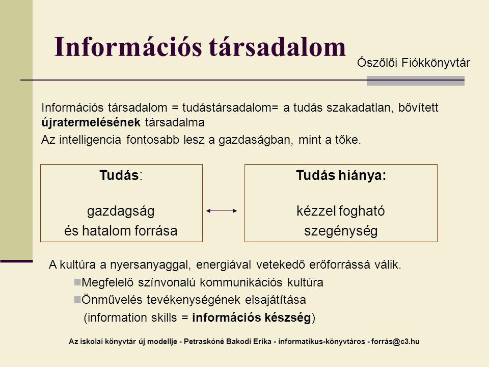 Az iskolai könyvtár új modellje - Petraskóné Bakodi Erika - informatikus-könyvtáros - forrás@c3.hu Információs társadalom Információs társadalom = tud