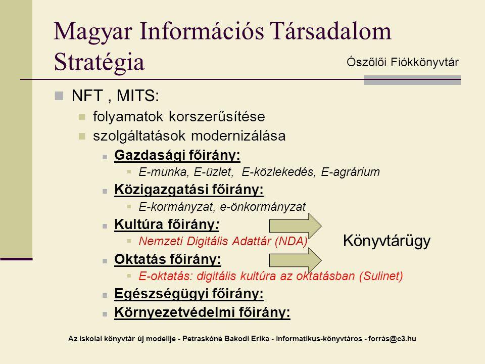 Az iskolai könyvtár új modellje - Petraskóné Bakodi Erika - informatikus-könyvtáros - forrás@c3.hu Magyar Információs Társadalom Stratégia NFT, MITS: