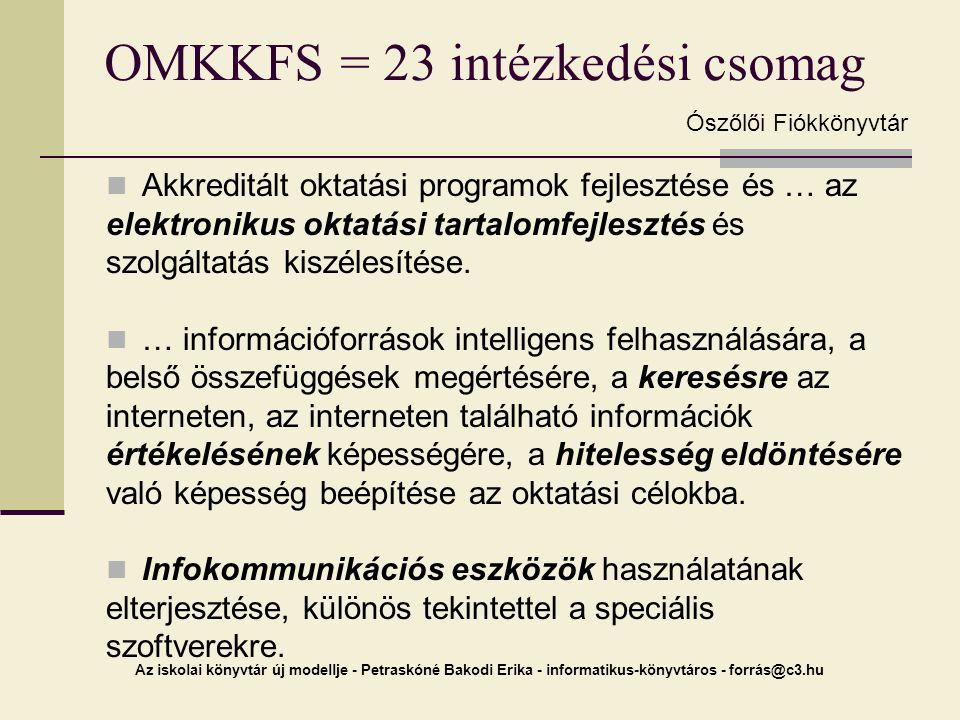 Az iskolai könyvtár új modellje - Petraskóné Bakodi Erika - informatikus-könyvtáros - forrás@c3.hu OMKKFS = 23 intézkedési csomag Akkreditált oktatási