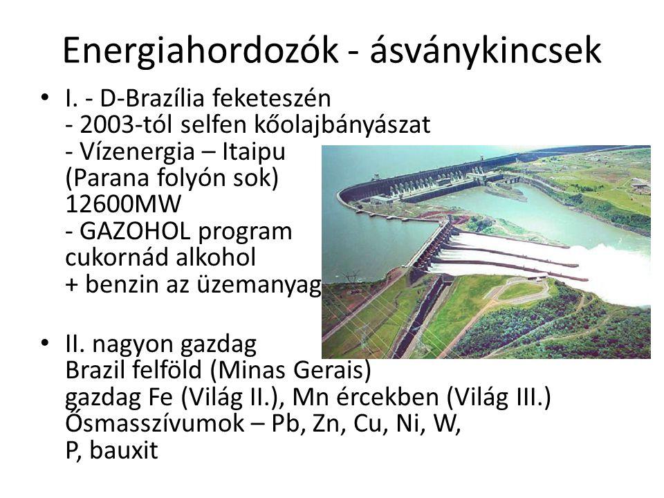 Energiahordozók - ásványkincsek I. - D-Brazília feketeszén - 2003-tól selfen kőolajbányászat - Vízenergia – Itaipu (Parana folyón sok) 12600MW - GAZOH