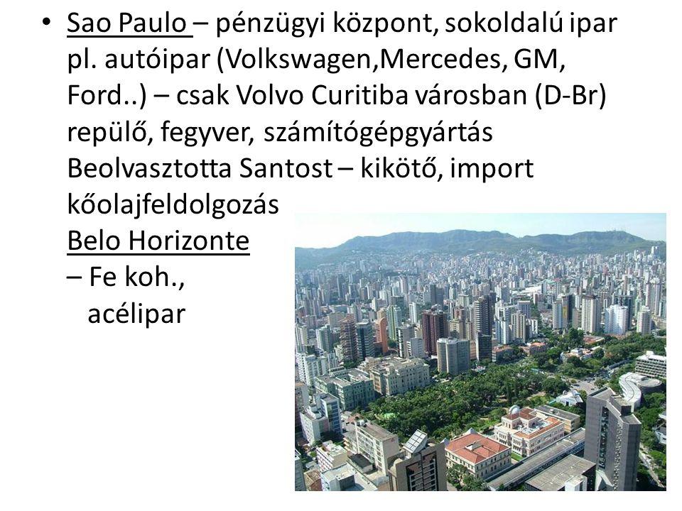 Sao Paulo – pénzügyi központ, sokoldalú ipar pl. autóipar (Volkswagen,Mercedes, GM, Ford..) – csak Volvo Curitiba városban (D-Br) repülő, fegyver, szá