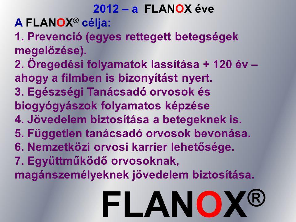 2012 – a FLANOX éve A FLANOX ® célja: 1. Prevenció (egyes rettegett betegségek megelőzése). 2. Öregedési folyamatok lassítása + 120 év – ahogy a filmb