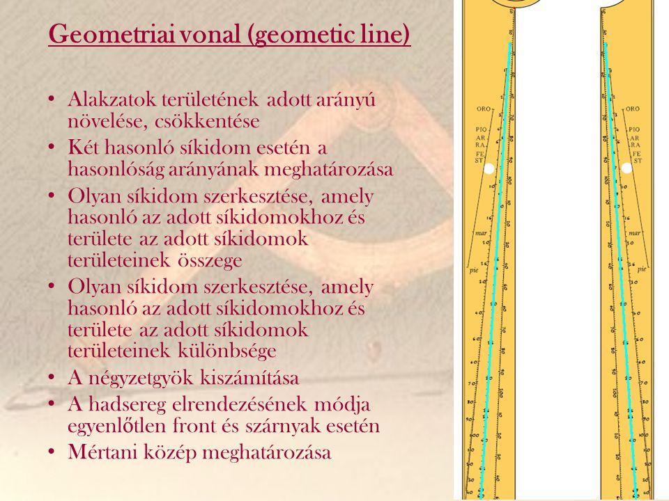 Geometriai vonal (geometic line) Alakzatok területének adott arányú növelése, csökkentése Két hasonló síkidom esetén a hasonlóság arányának meghatároz