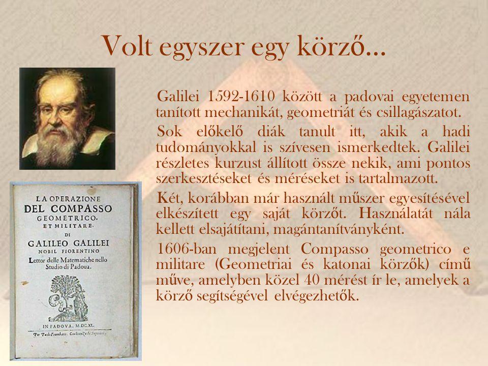 Volt egyszer egy körz ő … Galilei 1592-1610 között a padovai egyetemen tanított mechanikát, geometriát és csillagászatot. Sok el ő kel ő diák tanult i