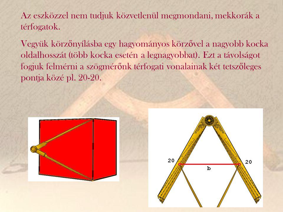 Az eszközzel nem tudjuk közvetlenül megmondani, mekkorák a térfogatok. Vegyük körz ő nyílásba egy hagyományos körz ő vel a nagyobb kocka oldalhosszát