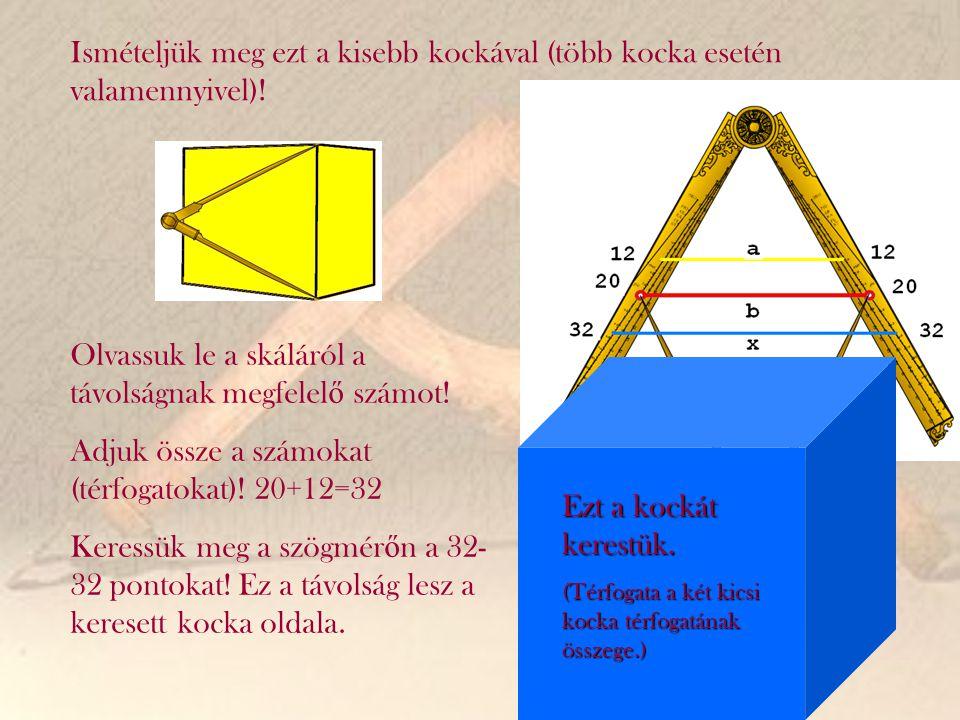 Ismételjük meg ezt a kisebb kockával (több kocka esetén valamennyivel)! Olvassuk le a skáláról a távolságnak megfelel ő számot! Adjuk össze a számokat
