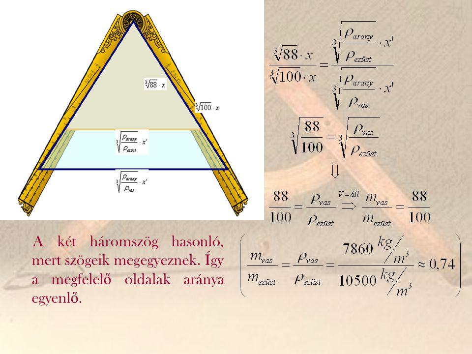 A két háromszög hasonló, mert szögeik megegyeznek. Így a megfelel ő oldalak aránya egyenl ő.