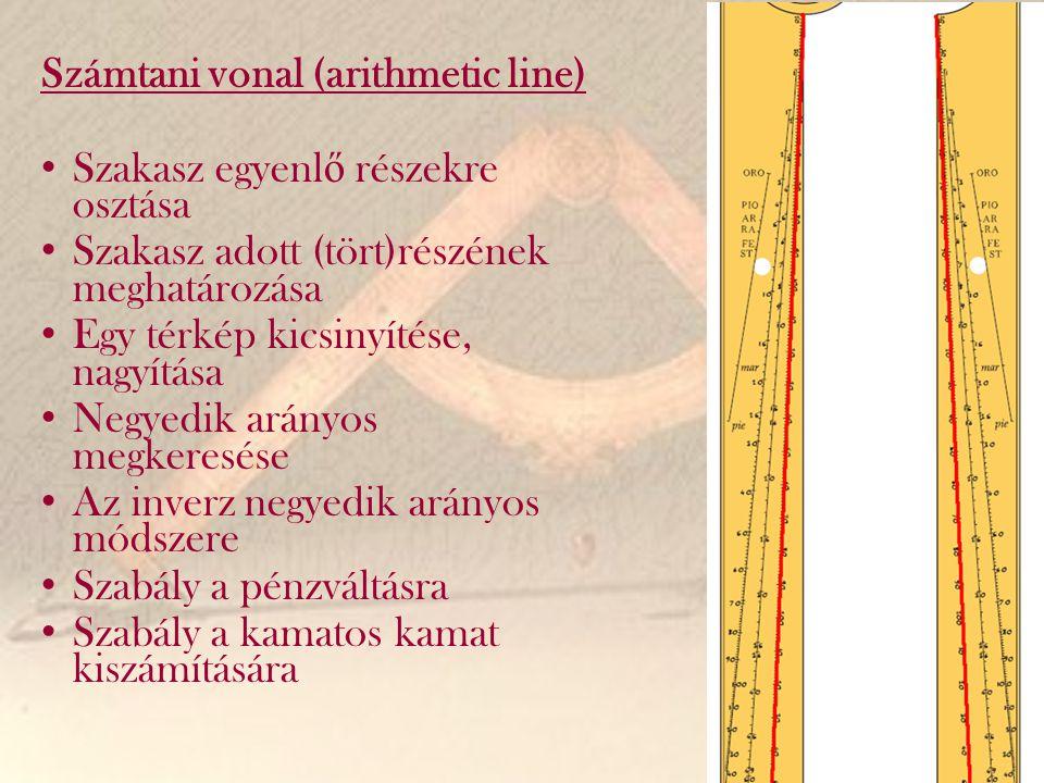 Számtani vonal (arithmetic line) Szakasz egyenl ő részekre osztása Szakasz adott (tört)részének meghatározása Egy térkép kicsinyítése, nagyítása Negye