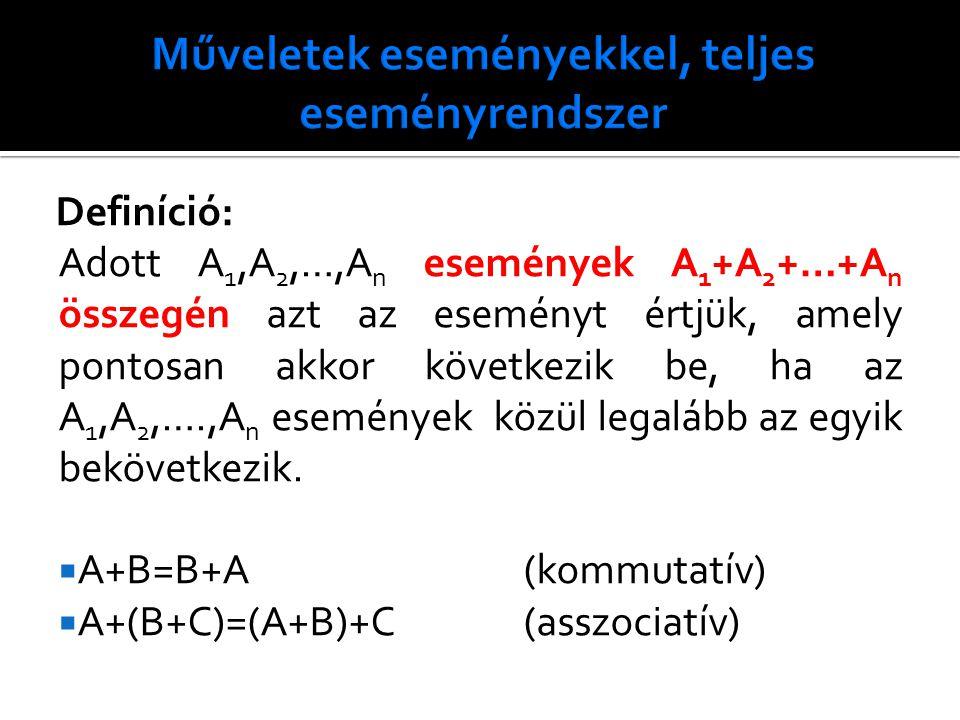 Definíció: Adott A 1,A 2,…,A n események A 1 +A 2 +…+A n összegén azt az eseményt értjük, amely pontosan akkor következik be, ha az A 1,A 2,….,A n események közül legalább az egyik bekövetkezik.