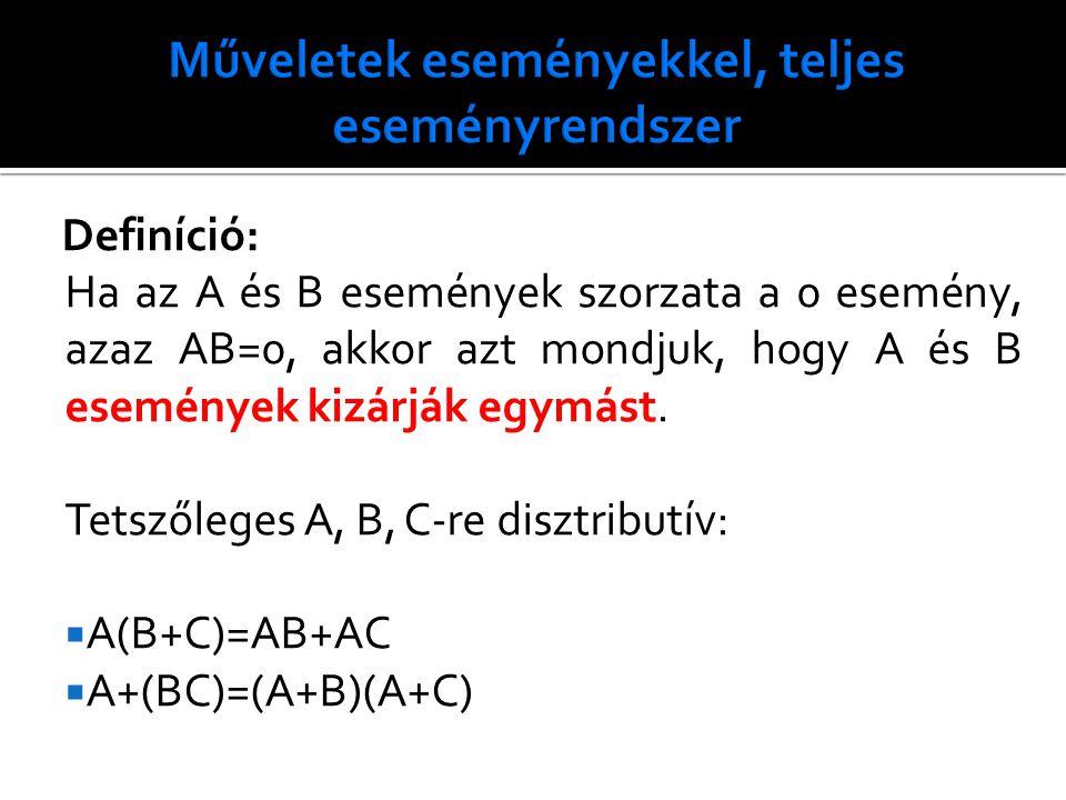 Definíció: Ha az A és B események szorzata a 0 esemény, azaz AB=0, akkor azt mondjuk, hogy A és B események kizárják egymást.