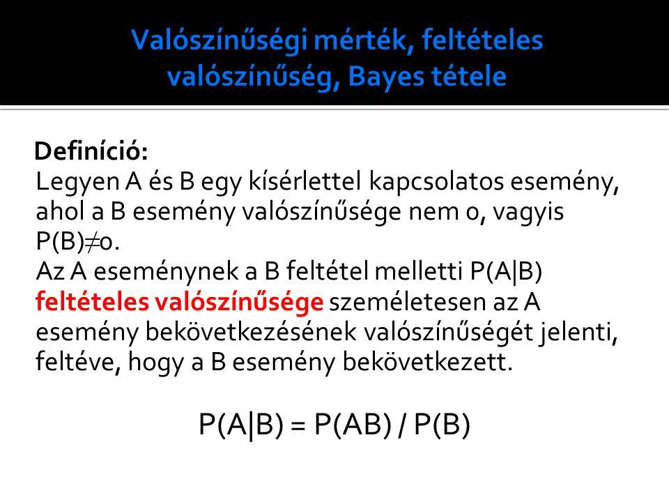 Definíció: Legyen A és B egy kísérlettel kapcsolatos esemény, ahol a B esemény valószínűsége nem 0, vagyis P(B) ≠ 0. Az A eseménynek a B feltétel mell