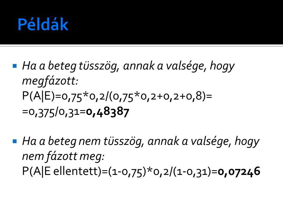  Ha a beteg tüsszög, annak a valsége, hogy megfázott: P(A|E)=0,75*0,2/(0,75*0,2+0,2+0,8)= =0,375/0,31=0,48387  Ha a beteg nem tüsszög, annak a valsége, hogy nem fázott meg: P(A|E ellentett)=(1-0,75)*0,2/(1-0,31)=0,07246