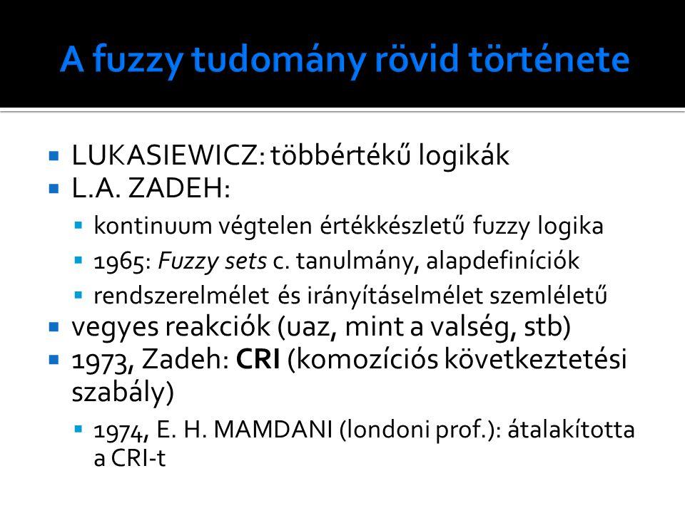  LUKASIEWICZ: többértékű logikák  L.A. ZADEH:  kontinuum végtelen értékkészletű fuzzy logika  1965: Fuzzy sets c. tanulmány, alapdefiníciók  rend