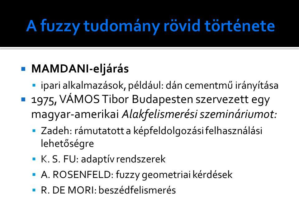  MAMDANI-eljárás  ipari alkalmazások, például: dán cementmű irányítása  1975, VÁMOS Tibor Budapesten szervezett egy magyar-amerikai Alakfelismerési szemináriumot:  Zadeh: rámutatott a képfeldolgozási felhasználási lehetőségre  K.