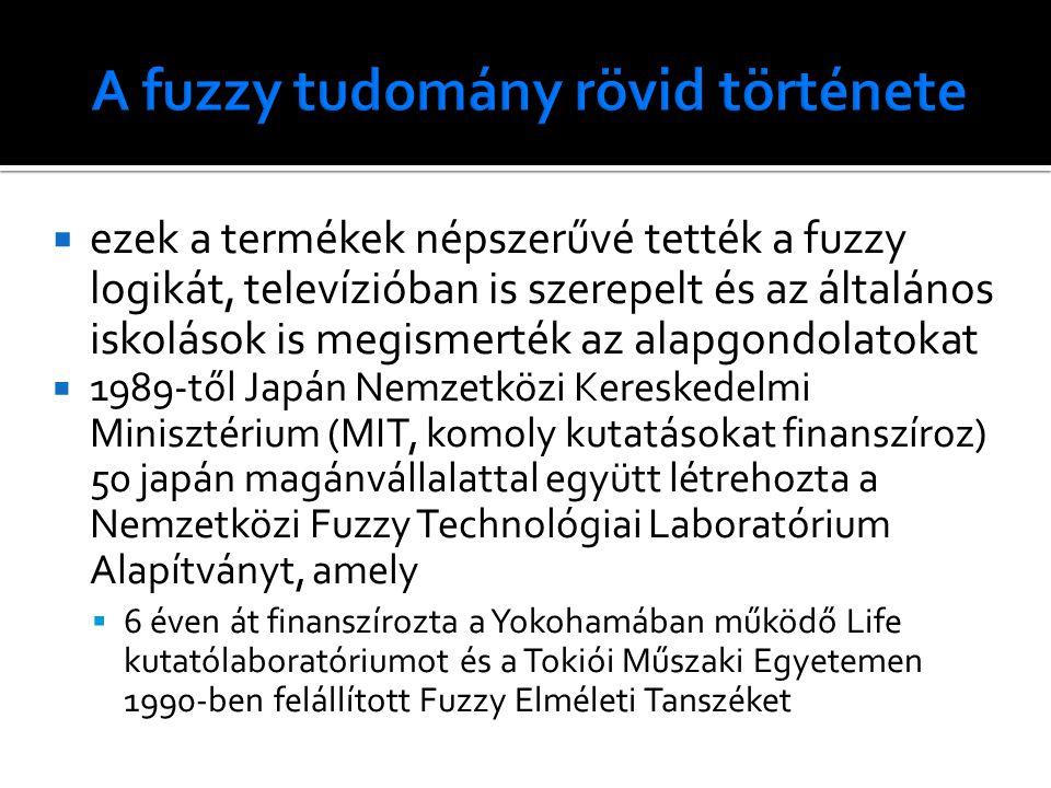  ezek a termékek népszerűvé tették a fuzzy logikát, televízióban is szerepelt és az általános iskolások is megismerték az alapgondolatokat  1989-től Japán Nemzetközi Kereskedelmi Minisztérium (MIT, komoly kutatásokat finanszíroz) 50 japán magánvállalattal együtt létrehozta a Nemzetközi Fuzzy Technológiai Laboratórium Alapítványt, amely  6 éven át finanszírozta a Yokohamában működő Life kutatólaboratóriumot és a Tokiói Műszaki Egyetemen 1990-ben felállított Fuzzy Elméleti Tanszéket