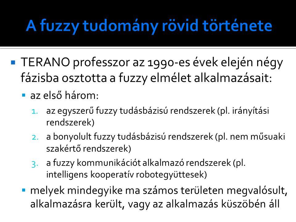  TERANO professzor az 1990-es évek elején négy fázisba osztotta a fuzzy elmélet alkalmazásait:  az első három: 1.az egyszerű fuzzy tudásbázisú rendszerek (pl.