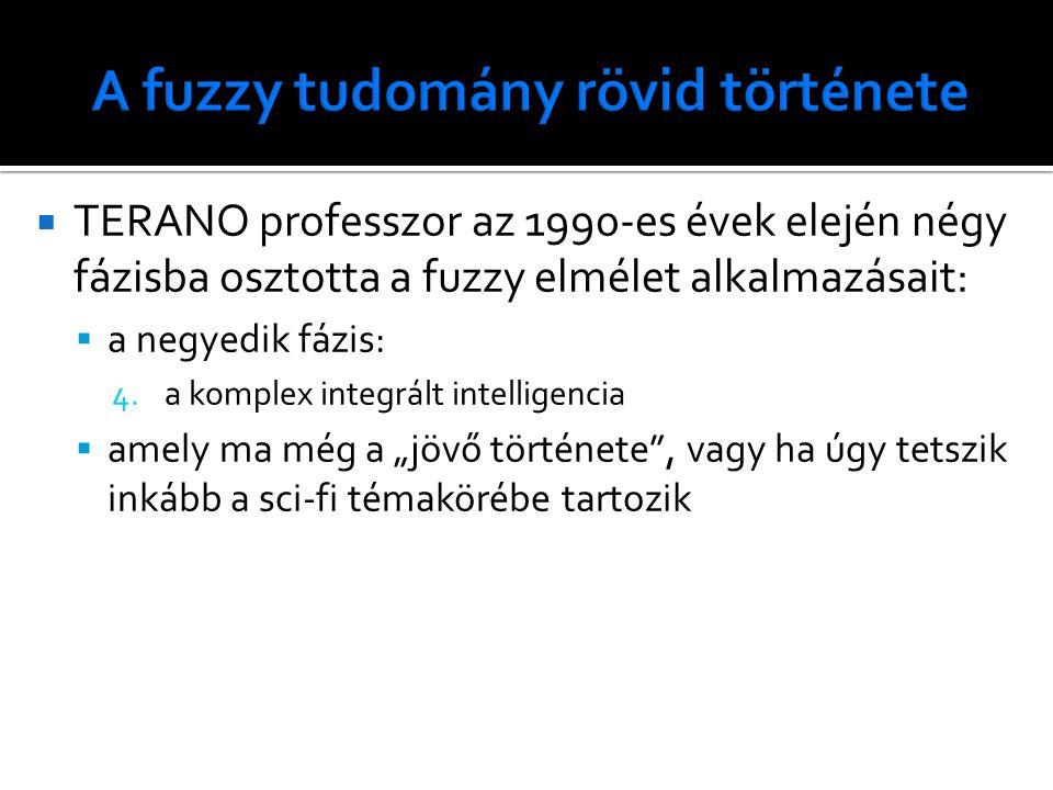  TERANO professzor az 1990-es évek elején négy fázisba osztotta a fuzzy elmélet alkalmazásait:  a negyedik fázis: 4.a komplex integrált intelligenci