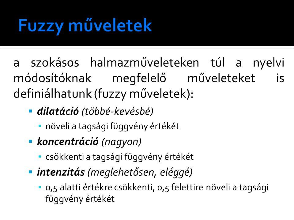 a szokásos halmazműveleteken túl a nyelvi módosítóknak megfelelő műveleteket is definiálhatunk (fuzzy műveletek):  dilatáció (többé-kevésbé) ▪ növeli