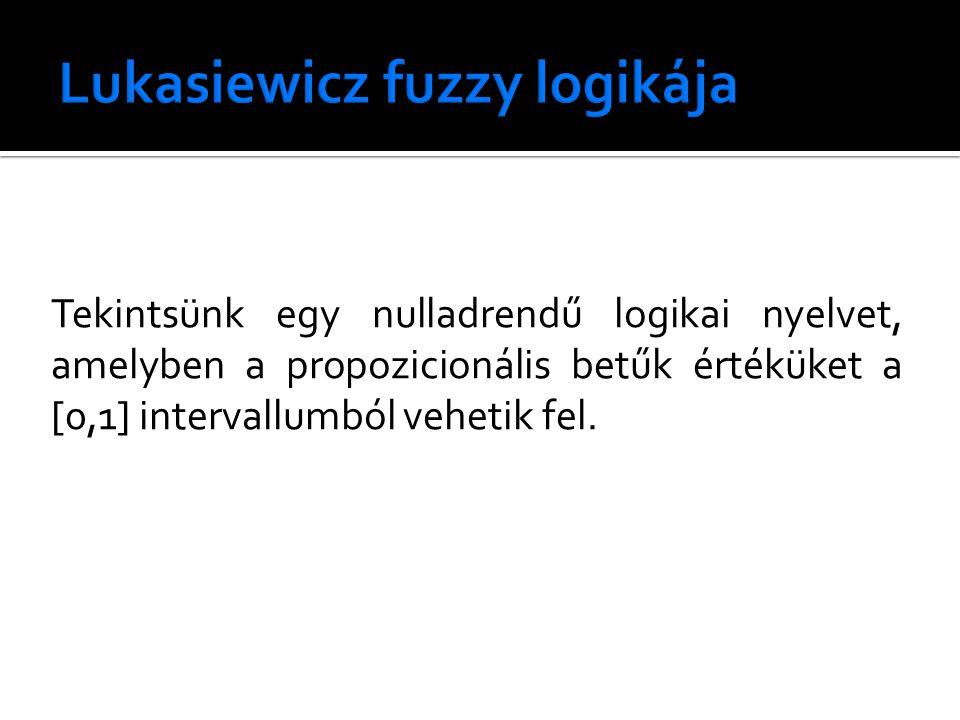 Tekintsünk egy nulladrendű logikai nyelvet, amelyben a propozicionális betűk értéküket a [0,1] intervallumból vehetik fel.