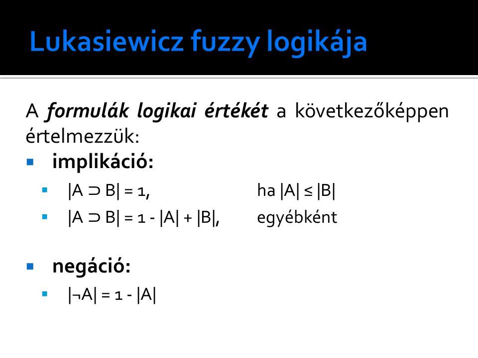 A formulák logikai értékét a következőképpen értelmezzük:  implikáció:  |A ⊃ B| = 1, ha |A| ≤ |B|  |A ⊃ B| = 1 - |A| + |B|, egyébként  negáció:  |¬A| = 1 - |A|