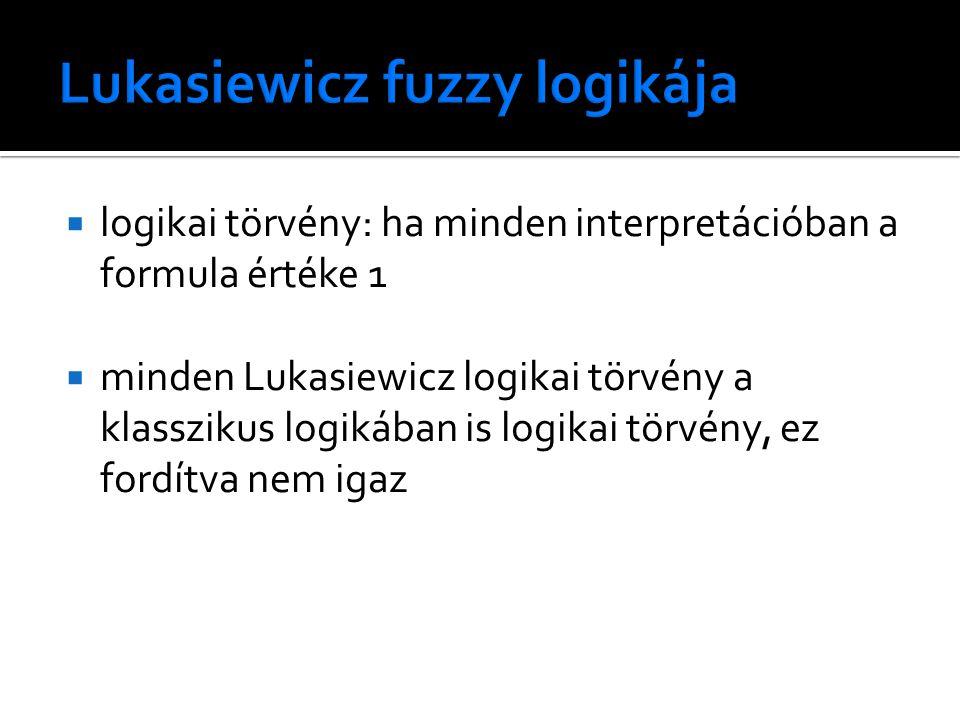  logikai törvény: ha minden interpretációban a formula értéke 1  minden Lukasiewicz logikai törvény a klasszikus logikában is logikai törvény, ez fordítva nem igaz