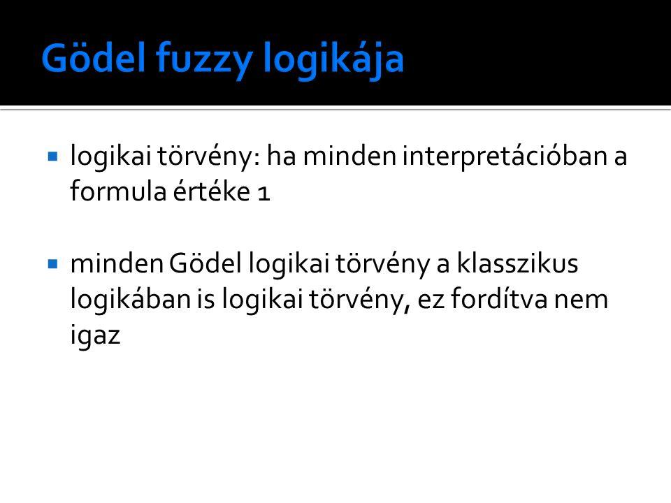  logikai törvény: ha minden interpretációban a formula értéke 1  minden Gödel logikai törvény a klasszikus logikában is logikai törvény, ez fordítva