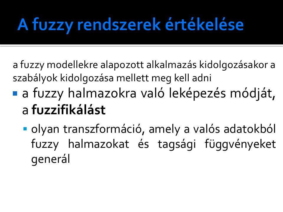 a fuzzy modellekre alapozott alkalmazás kidolgozásakor a szabályok kidolgozása mellett meg kell adni  a fuzzy halmazokra való leképezés módját, a fuzzifikálást  olyan transzformáció, amely a valós adatokból fuzzy halmazokat és tagsági függvényeket generál