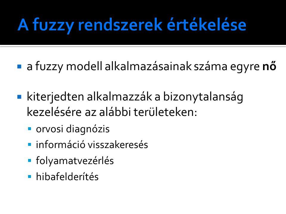  a fuzzy modell alkalmazásainak száma egyre nő  kiterjedten alkalmazzák a bizonytalanság kezelésére az alábbi területeken:  orvosi diagnózis  információ visszakeresés  folyamatvezérlés  hibafelderítés