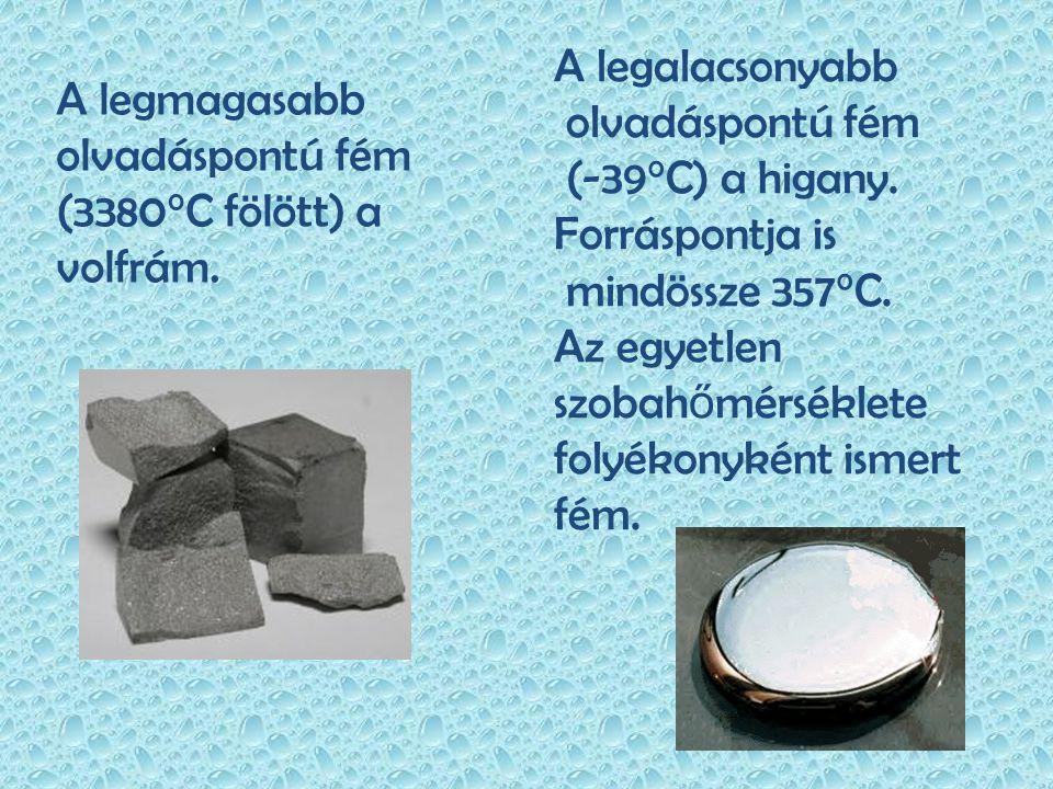 A legmagasabb olvadáspontú fém (3380°C fölött) a volfrám. A legalacsonyabb olvadáspontú fém (-39°C) a higany. Forráspontja is mindössze 357°C. Az egye