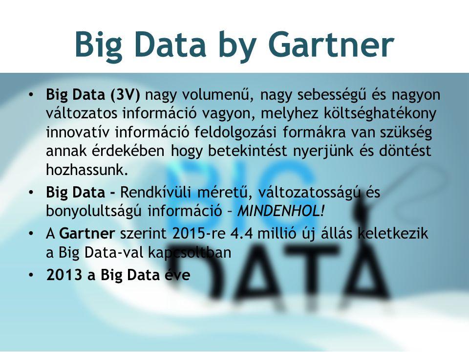Big Data by Gartner Big Data (3V) nagy volumenű, nagy sebességű és nagyon változatos információ vagyon, melyhez költséghatékony innovatív információ feldolgozási formákra van szükség annak érdekében hogy betekintést nyerjünk és döntést hozhassunk.