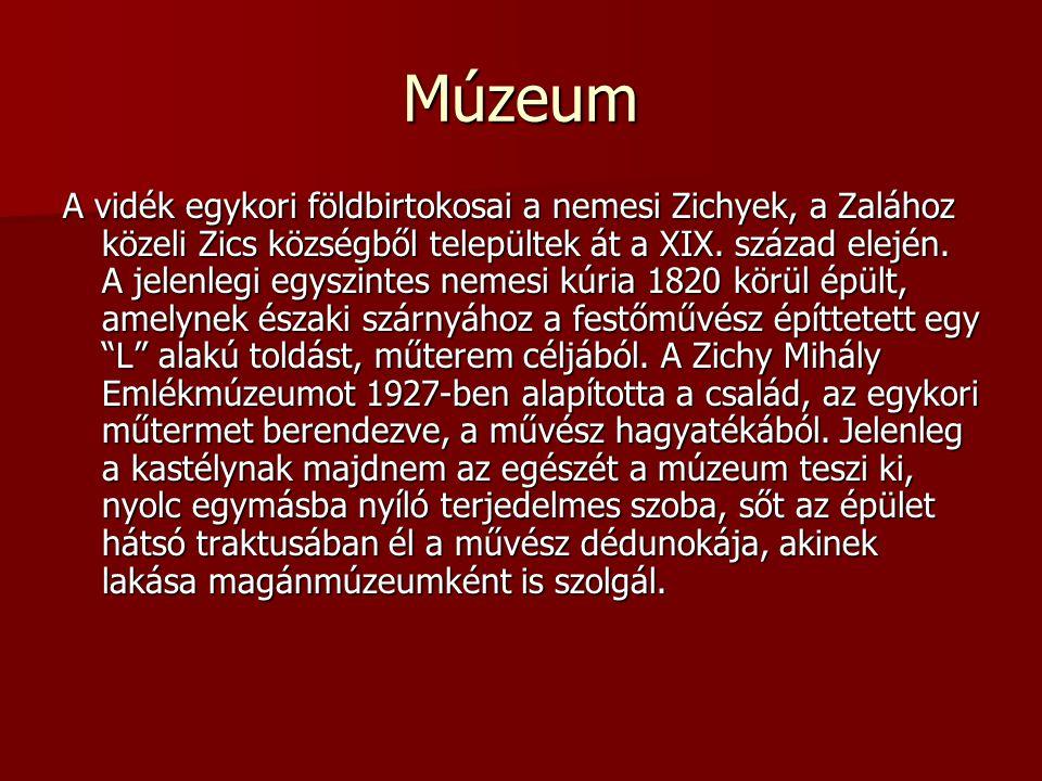 Múzeum A vidék egykori földbirtokosai a nemesi Zichyek, a Zalához közeli Zics községből települtek át a XIX. század elején. A jelenlegi egyszintes nem